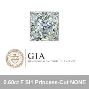 GIA 0.60ct F SI1 Princess-Cut NONE