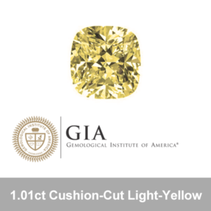 GIA 1.01ct Cushion-Cut Light-yellow