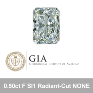 GIA 0.50ct F SI1 Radiant-Cut NONE
