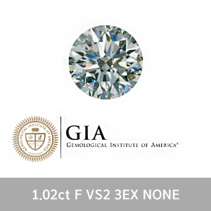 GIA 1.02ct F VS2 3EX NONE